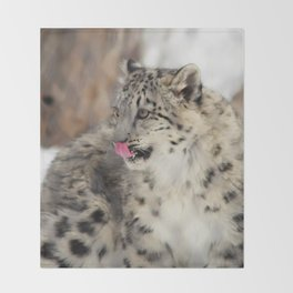 Concerned Mama Snow Leopard Throw Blanket