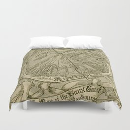 Vintage Map of New Orleans Louisiana (1919) Duvet Cover