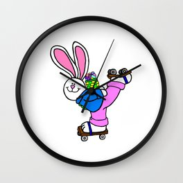 Roller Skating Easter Bunny Wall Clock