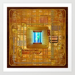 Steampunk Circuit Board #1138 Art Print
