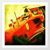 formula 1 Art Prints featuring Formula 1 team Ferrari by frenchtoy