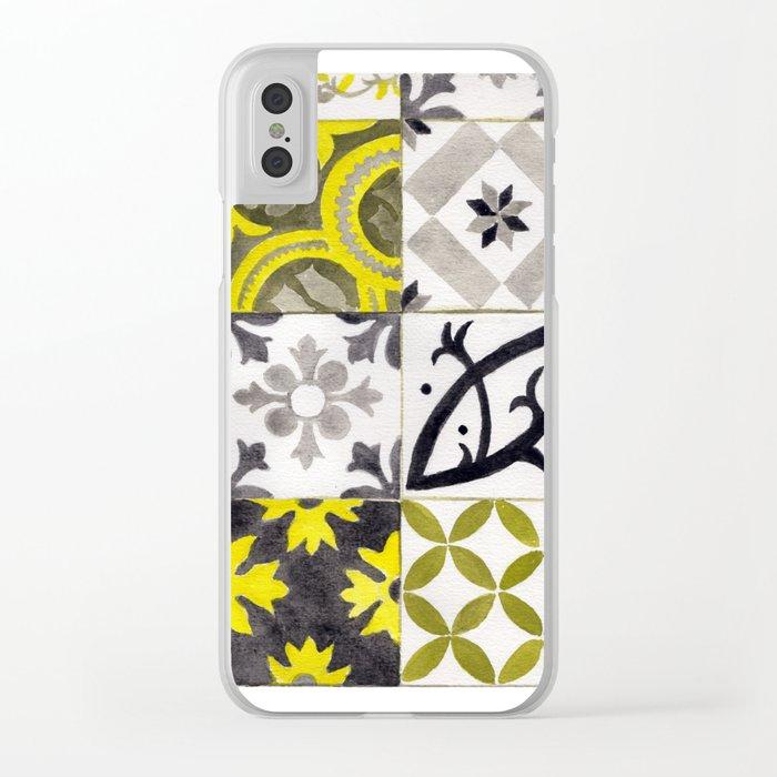 JD_tiled floor1–gouache Clear iPhone Case