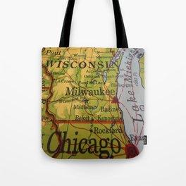 Wisconsin, Lake Michigan, Chicago Map Tote Bag