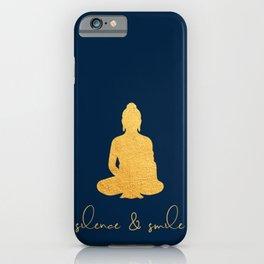 Gold Buddha - Silence & Smile iPhone Case