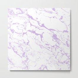 Modern trendy white pastel purple lavender marble pattern Metal Print