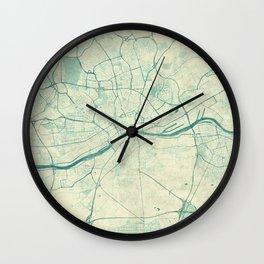 Frankfurt Map Blue Vintage Wall Clock