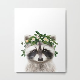 Baby Raccoon With Flower Crown, Baby Animals Art Print By Synplus Metal Print