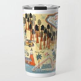 Santa Cruz California Illustrated Map Travel Mug