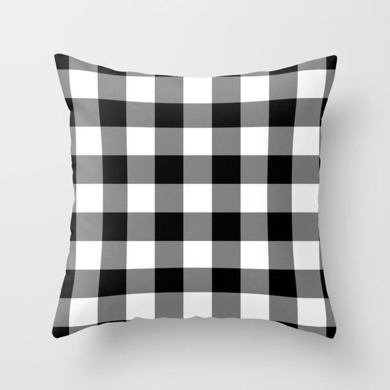 Gingham Black White Throw Pillow