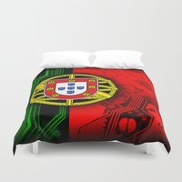 portugal Duvet Covers featuring circuit board Portugal (Flag) by seb mcnulty