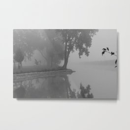 Black and White Foggy River Metal Print
