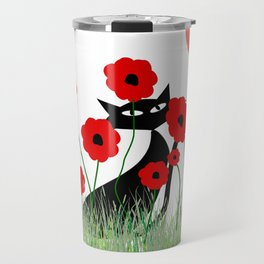 Whimsical Black Cat and Red Poppies Travel Mug