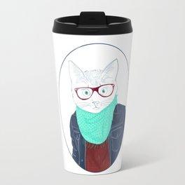 Hipster cat Travel Mug