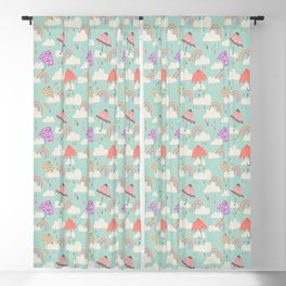 Happy Spring Showers - Aqua Blackout Curtain