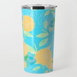 06 Yellow Blooms on Blue Travel Mug