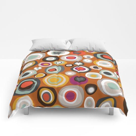 veneto boho spot amber Comforters