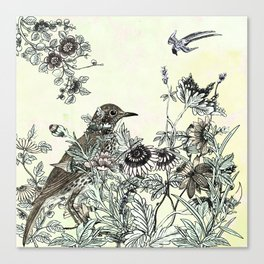 The thrush and a promise of Spring Canvas Print