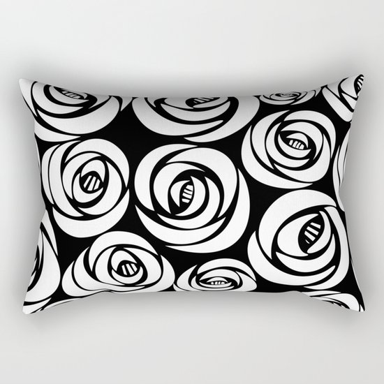 black background with white flowers Rectangular Pillow