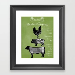 Butcher Diagram Farmhouse Decor - Green Framed Art Print