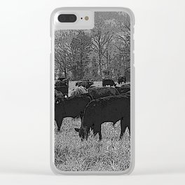 Black & White Cattle Grazing Pencil Drawing Photo Clear iPhone Case