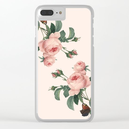 Butterflies in the Rose Garden Clear iPhone Case