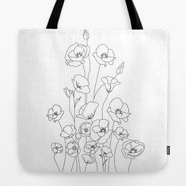 Poppy Flowers Line Art Tote Bag