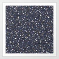 Speckles I: Dark Gold & Snow on Blue Vortex Art Print