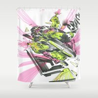 moto Shower Curtains featuring Moto Mutants by Mike McDonnell