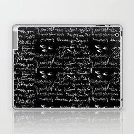 White French Script on Black background with White birds Laptop & iPad Skin
