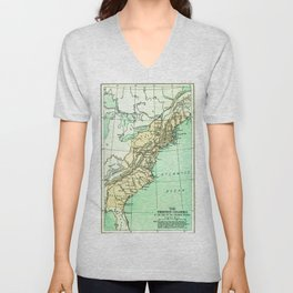 Vintage American Colonies Map - 1775 Unisex V-Neck