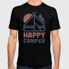 Happy Camper Black Mens Fitted Tee MEDIUM