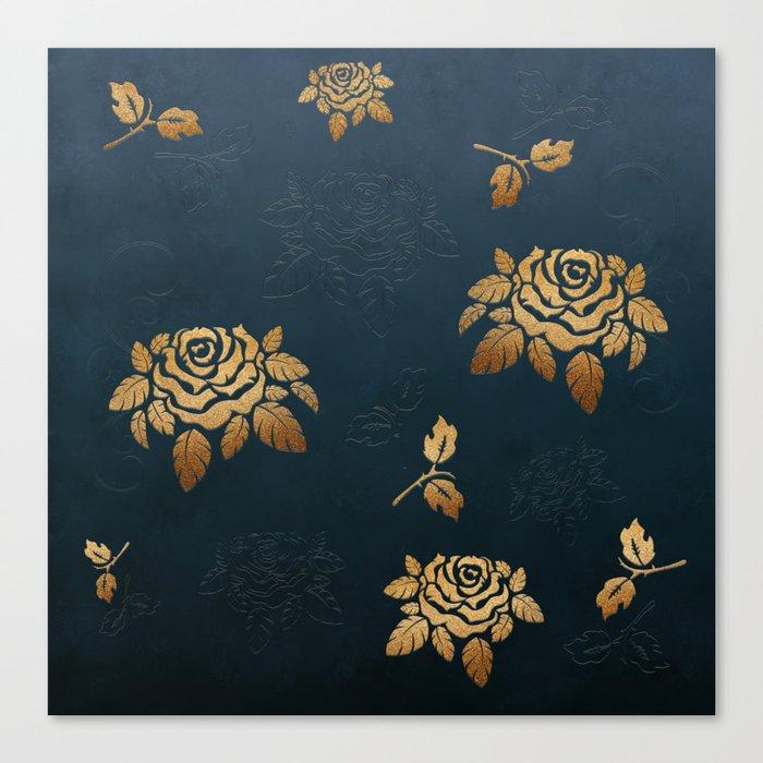 Golden Rose - Glitter Pattern Canvas Print
