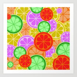 FRUITY CITRUS PATTERN BIG BOLD ORANGES LEMONS AND PINK GRAPEFRUIT WITH LIMES Art Print