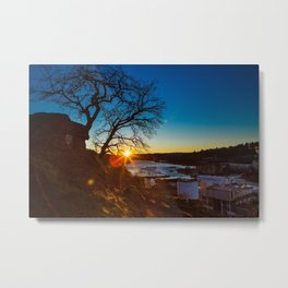 Sun Kisses the River Goodnight Metal Print