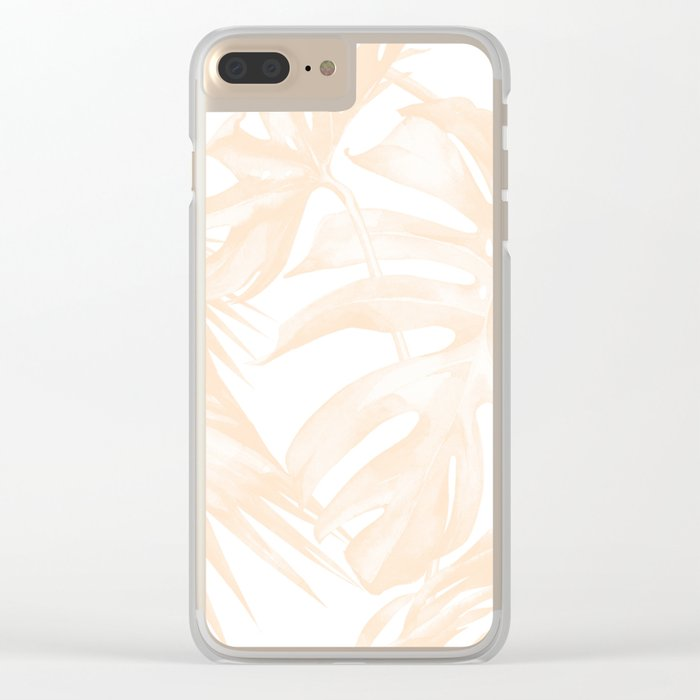 Island Vacation Hibiscus Palm Light Mango Clear iPhone Case