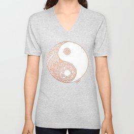 Rose Gold Yin Yang Unisex V-Neck