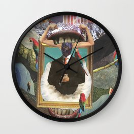 Surreal Collage / Portrait Of Horned Man Wall Clock