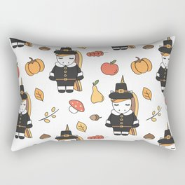 cartoon thanksgiving pattern with pilgrim unicorns, pumpkins, apples, pears, leaves and acorns Rectangular Pillow