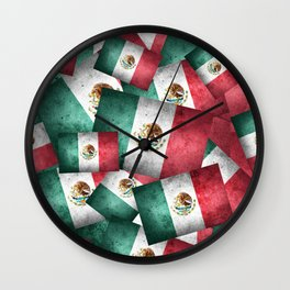Grunge-Style Mexican Flag Wall Clock