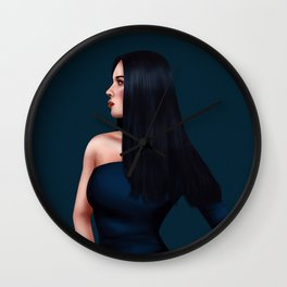 Glamorous Lady in Dark Blue Gown Wall Clock