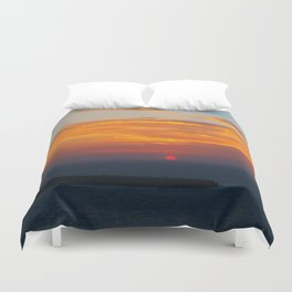 Sunset in Oia Santorini cv Duvet Cover