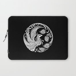 Traditional White and Black Chinese Phoenix Circle Laptop Sleeve