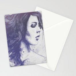 Violet Noise | female portrait mandala art Stationery Cards