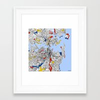sydney Framed Art Prints featuring Sydney by Mondrian Maps