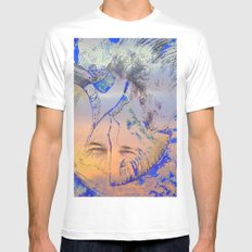 Smiling Mountain White MEDIUM Mens Fitted Tee