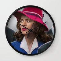 agent carter Wall Clocks featuring Agent Carter by DandyBee