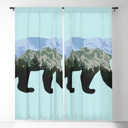 Bear and landscape with mountains Blackout Curtain
