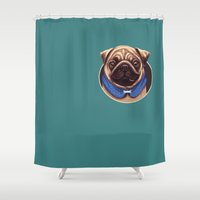 pug Shower Curtains featuring pug by adi katz