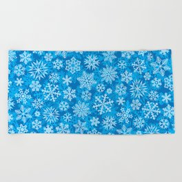 snowflakes background (winter design) Beach Towel
