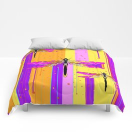 Purple-fuchsia  Dragonflies  Dreamscape Absract Comforters